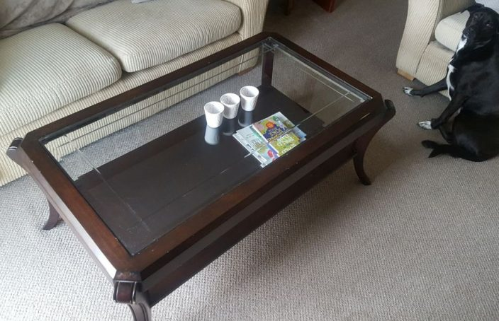 Original glass/wood coffee table