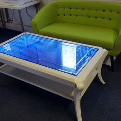 Table showing blue LEDs